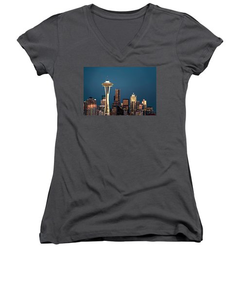 Sleepless In Seattle Women's V-Neck T-Shirt (Junior Cut) by Eduard Moldoveanu