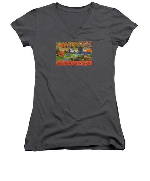 Sleepy Hollows Farm Woodstock Vermont Vt Autumn Bright Colors Women's V-Neck (Athletic Fit)