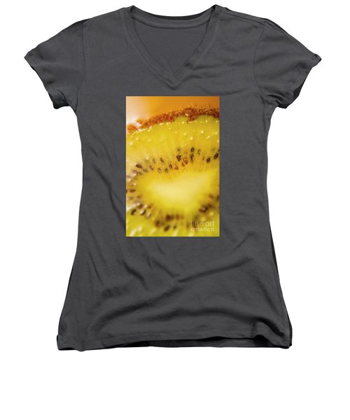 Sliced Kiwi Fruit Floating In Carbonated Beverage Women's V-Neck T-Shirt (Junior Cut) by Jorgo Photography - Wall Art Gallery