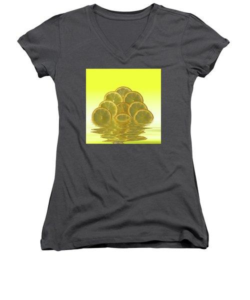 Slices Lemon Citrus Fruit Women's V-Neck T-Shirt (Junior Cut) by David French