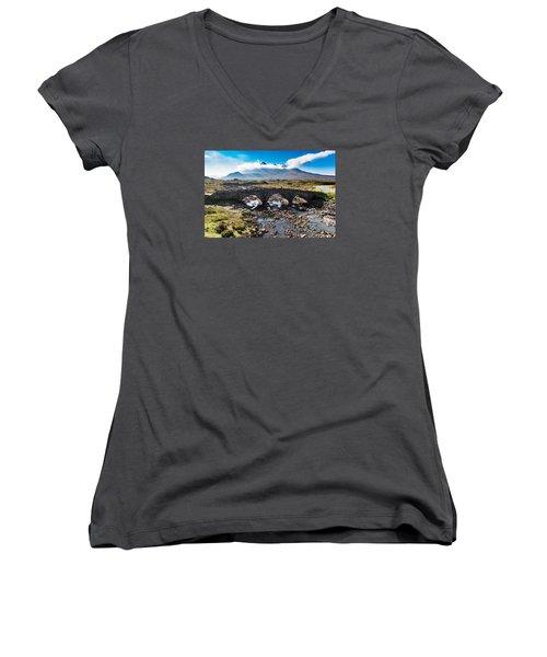 Women's V-Neck T-Shirt (Junior Cut) featuring the photograph Skye Cuillin From Sligachan by Gary Eason