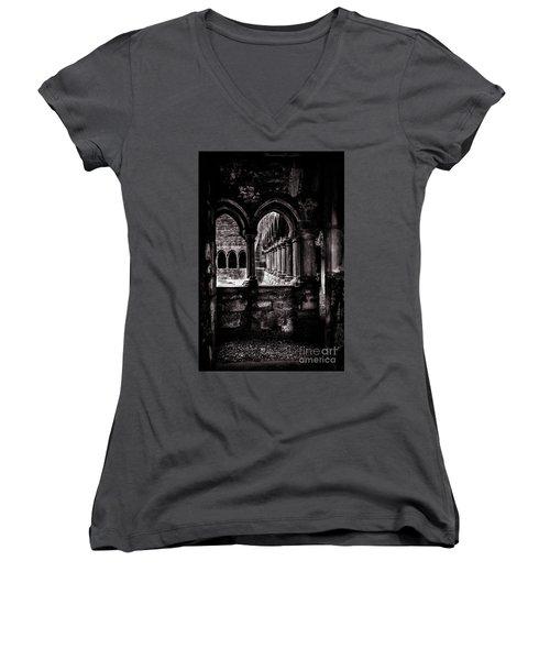 Women's V-Neck T-Shirt (Junior Cut) featuring the photograph Sligo Abbey Interior Bw by RicardMN Photography
