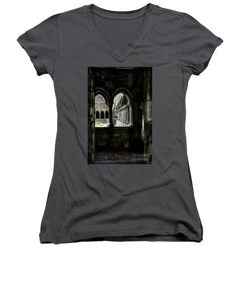 Women's V-Neck T-Shirt (Junior Cut) featuring the photograph Sligo Abbey Interior by RicardMN Photography