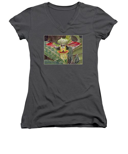 Women's V-Neck T-Shirt (Junior Cut) featuring the painting Slipper Foot Aladdin by Mindy Newman