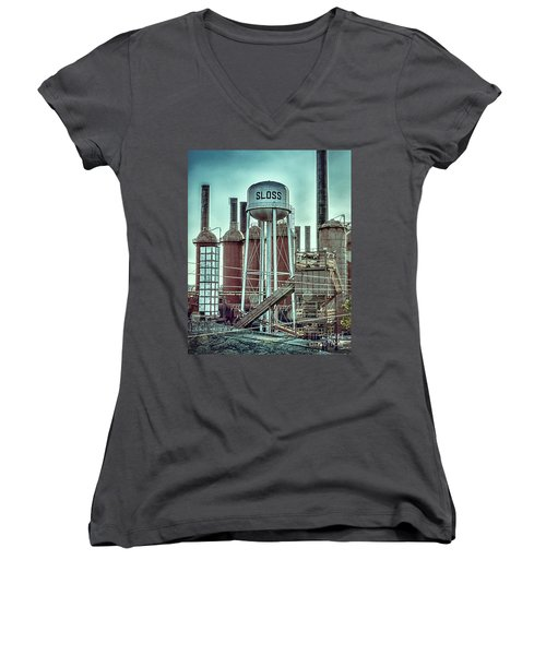 Sloss Furnaces Tower 3 Women's V-Neck T-Shirt