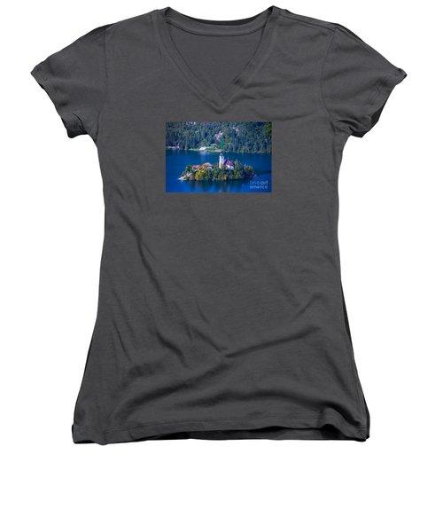 Slovenia Europe Women's V-Neck T-Shirt (Junior Cut) by Mariusz Czajkowski