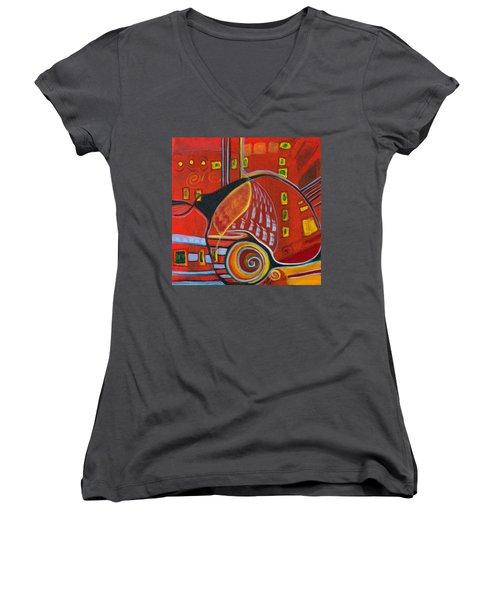 Slow Down Women's V-Neck T-Shirt (Junior Cut) by Leela Payne