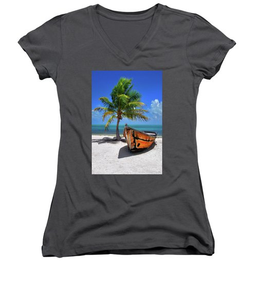 Small Boat And Palm Tree On White Sandy Beach In The Florida Keys Women's V-Neck