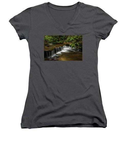 Small Cascade On Pounder Branch. Women's V-Neck T-Shirt (Junior Cut) by Ulrich Burkhalter