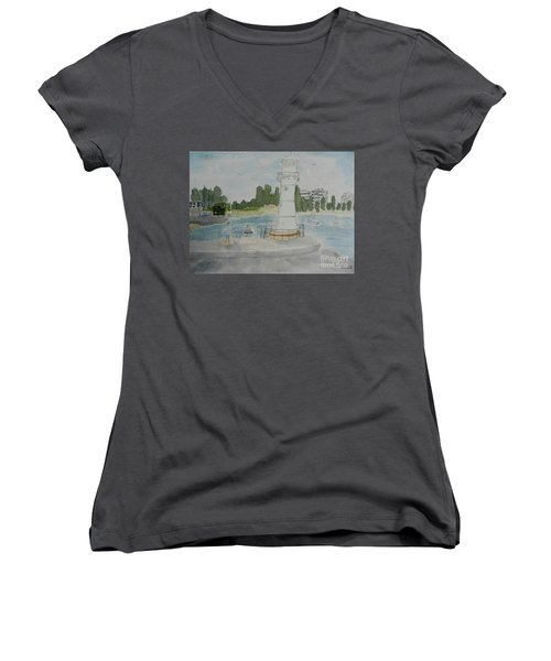 Small Lighthouse One Belmore Basin Women's V-Neck (Athletic Fit)