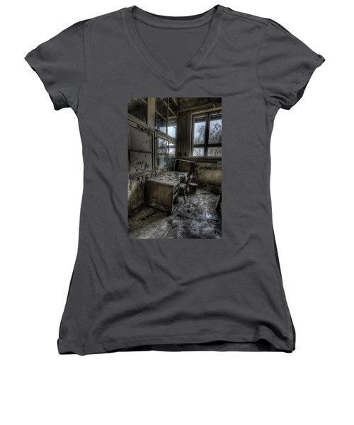 Small Office Women's V-Neck T-Shirt (Junior Cut) by Nathan Wright