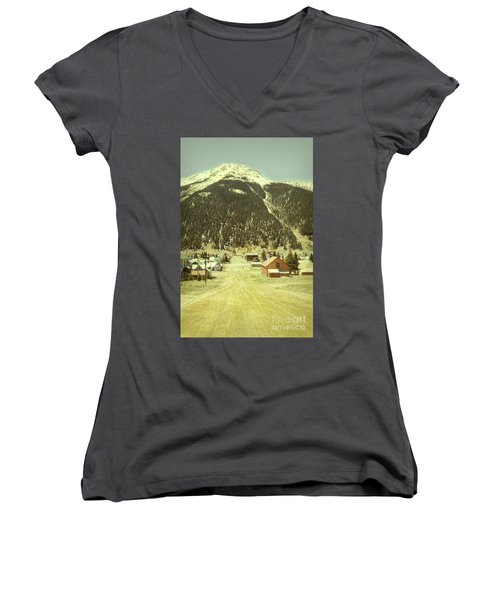 Small Rocky Mountain Town Women's V-Neck T-Shirt (Junior Cut) by Jill Battaglia