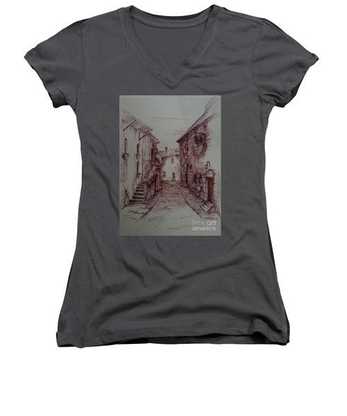 Small Town Drawing Women's V-Neck T-Shirt