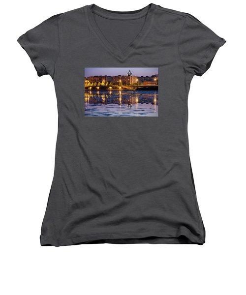 Small Town Skyline Women's V-Neck T-Shirt (Junior Cut) by Teemu Tretjakov