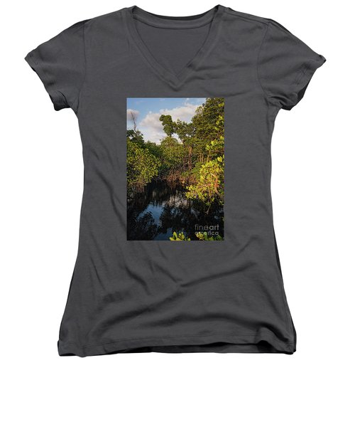 Small Waterway In Vitolo Preserve, Hutchinson Isl  -29151 Women's V-Neck T-Shirt (Junior Cut) by John Bald