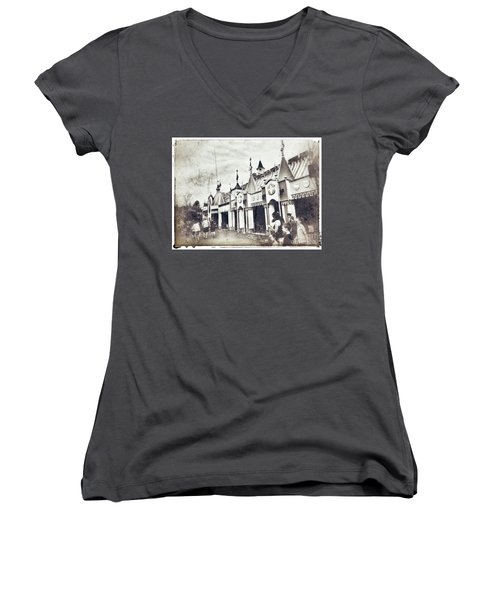Small World Women's V-Neck T-Shirt (Junior Cut) by Jason Nicholas
