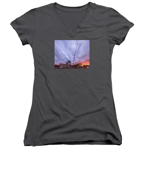 Women's V-Neck T-Shirt (Junior Cut) featuring the photograph Smart Financial Centre Construction Sunset Sugar Land Texas 10 26 2015 by Micah Goff