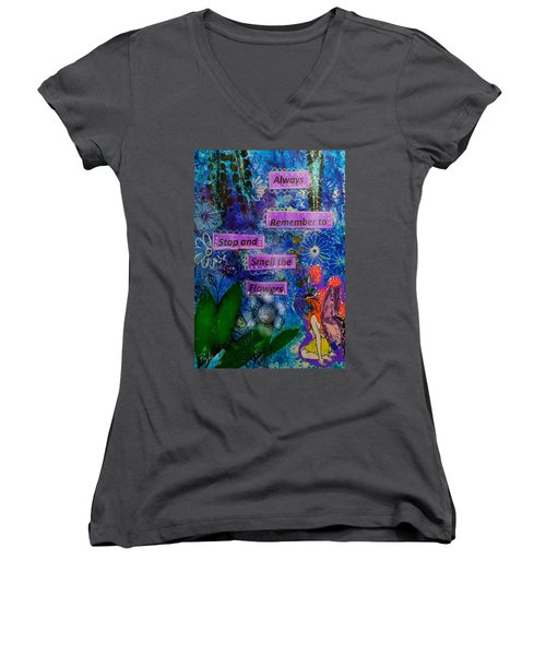 Women's V-Neck T-Shirt (Junior Cut) featuring the mixed media Smell The Flowers...... by Diana Riukas