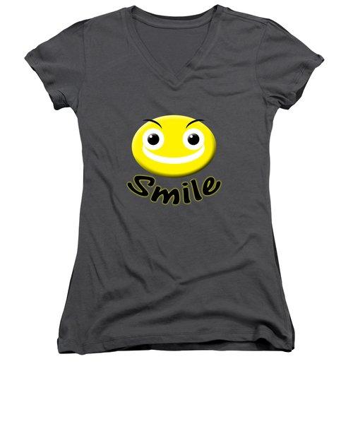 Smile T-shirt Women's V-Neck T-Shirt (Junior Cut) by Isam Awad