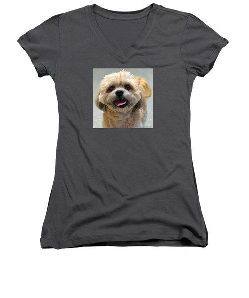Smiling Shih Tzu Dog Women's V-Neck (Athletic Fit)