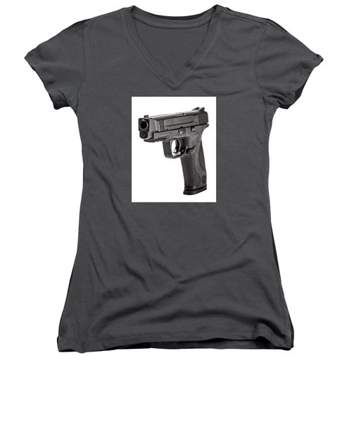 Women's V-Neck T-Shirt (Junior Cut) featuring the photograph Smith And Wesson Handgun by Andy Crawford