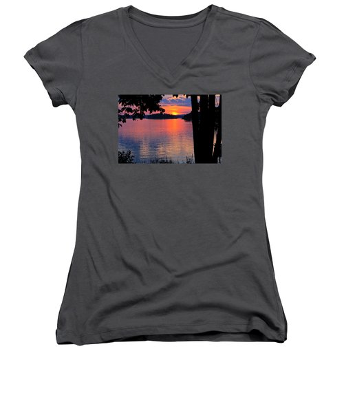 Smith Mountain Lake Sunset Women's V-Neck