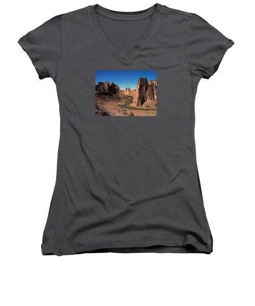 Smith Rock Women's V-Neck T-Shirt (Junior Cut) by Lori Seaman