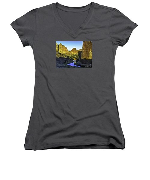 Women's V-Neck T-Shirt (Junior Cut) featuring the photograph Smith Rock, Oregon by Nancy Marie Ricketts