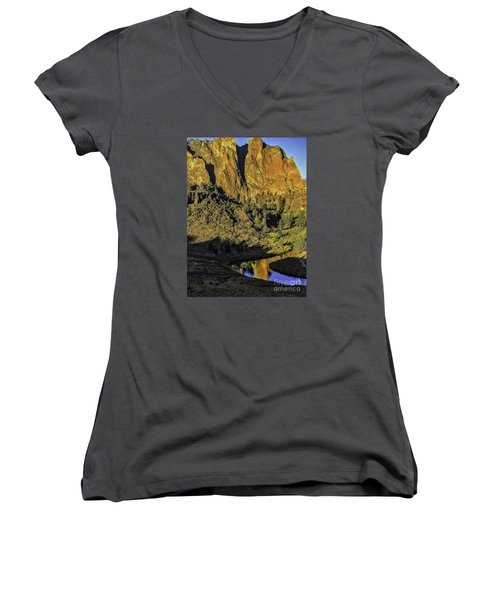 Smith Rock Reflections-1 Women's V-Neck T-Shirt (Junior Cut) by Nancy Marie Ricketts