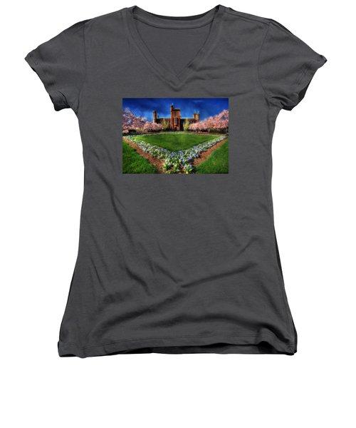 Spring Blooms In The Smithsonian Castle Garden Women's V-Neck T-Shirt (Junior Cut) by Shelley Neff