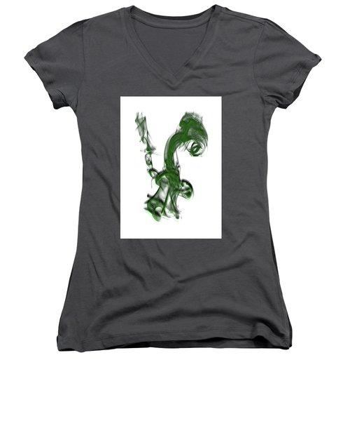 Smoke 01 - Green Women's V-Neck T-Shirt