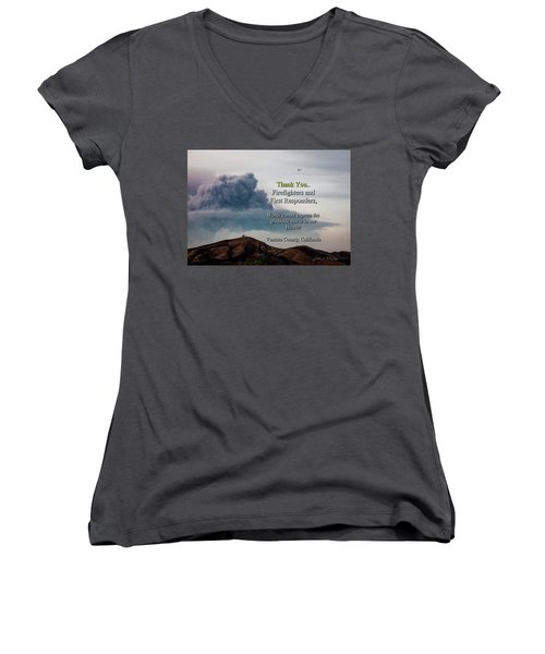 Smoke Cloud Over Two Trees Women's V-Neck