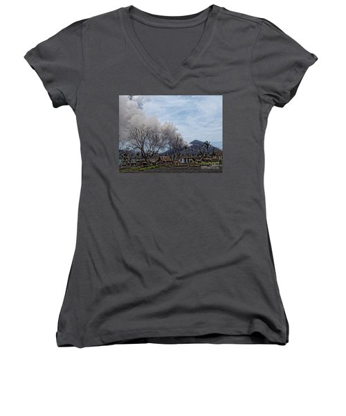 Smoking Volcano Women's V-Neck T-Shirt