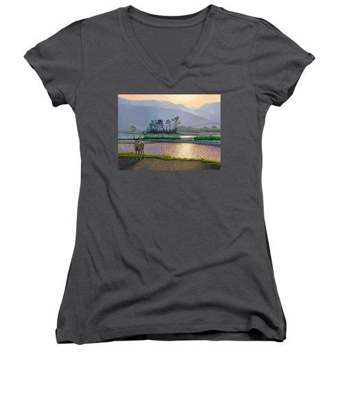 Smoky Morning Glitter Women's V-Neck T-Shirt (Junior Cut) by Paul Krapf