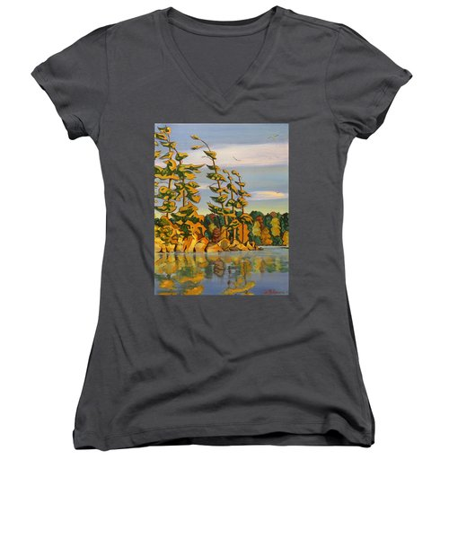 Snake Island In Fall Sunset Women's V-Neck T-Shirt (Junior Cut) by David Gilmore