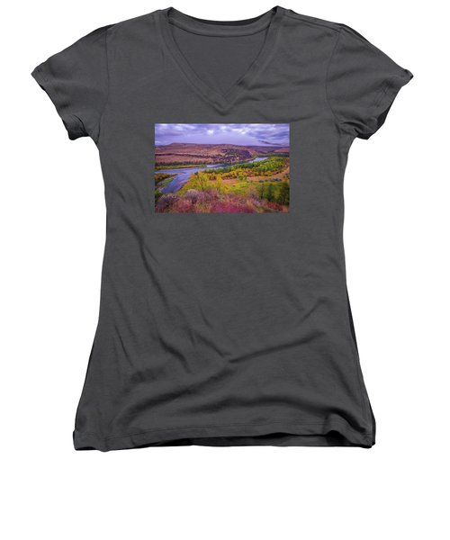 Snake River Fall Beauty  Women's V-Neck (Athletic Fit)