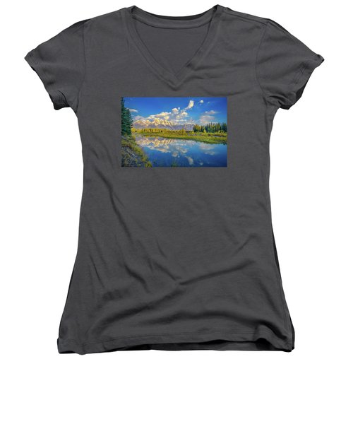 Snake River Reflection Grand Teton Women's V-Neck T-Shirt