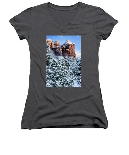 Snow 07-111 Women's V-Neck T-Shirt (Junior Cut) by Scott McAllister
