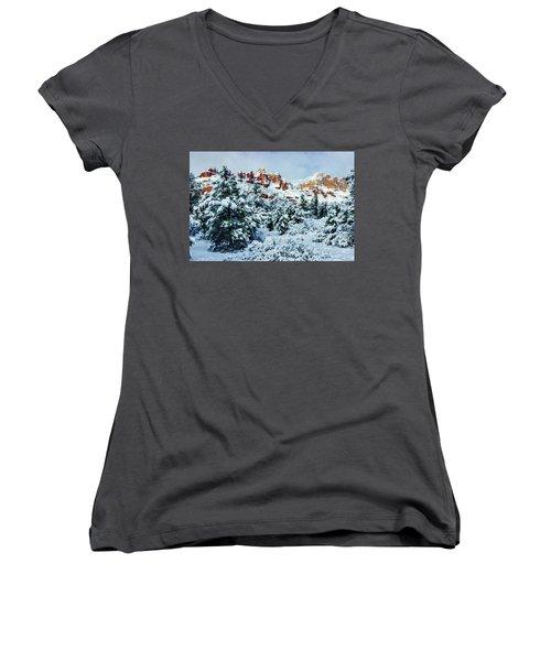 Snow 09-007 Women's V-Neck T-Shirt (Junior Cut) by Scott McAllister