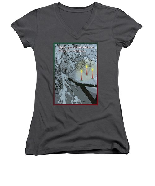 Snow And Candlelight Women's V-Neck (Athletic Fit)
