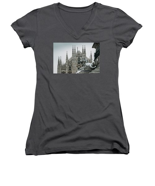 Snow At Milan's Duomo Cathedral  Women's V-Neck