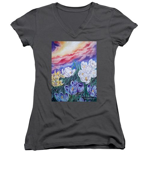 Women's V-Neck T-Shirt (Junior Cut) featuring the painting Snow Crocus by Sigrid Tune