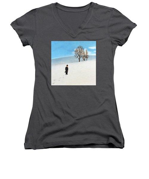 Snow Day Women's V-Neck T-Shirt (Junior Cut) by Thomas Blood