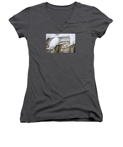 Women's V-Neck T-Shirt (Junior Cut) featuring the photograph Snow Fluff And Woodgrain by Deborah Smolinske