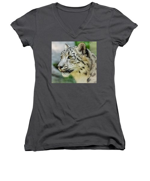 Snow Leopard Portrait Women's V-Neck T-Shirt (Junior Cut) by Yeates Photography
