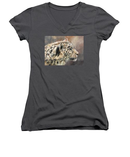 Women's V-Neck T-Shirt (Junior Cut) featuring the painting Snow Leopard Study by David Stribbling