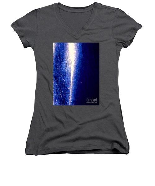 Snow Lightning Women's V-Neck T-Shirt (Junior Cut) by Jennifer Lake