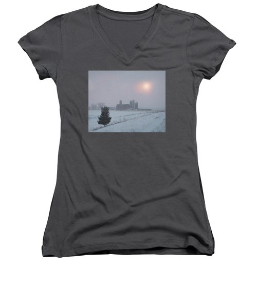 Women's V-Neck T-Shirt (Junior Cut) featuring the photograph Snow Muted Sunset by Judy Johnson