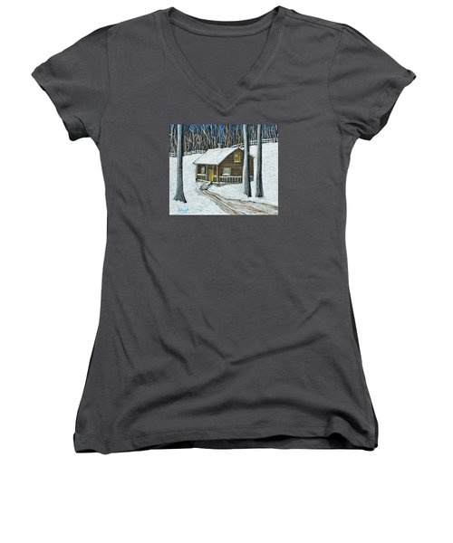 Snow On Cabin Women's V-Neck T-Shirt (Junior Cut) by Reb Frost