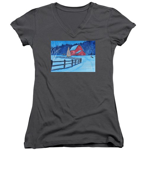 Snow On Christmas Eve Women's V-Neck (Athletic Fit)